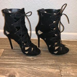 Black Shoe Dazzle Heeled Sandal